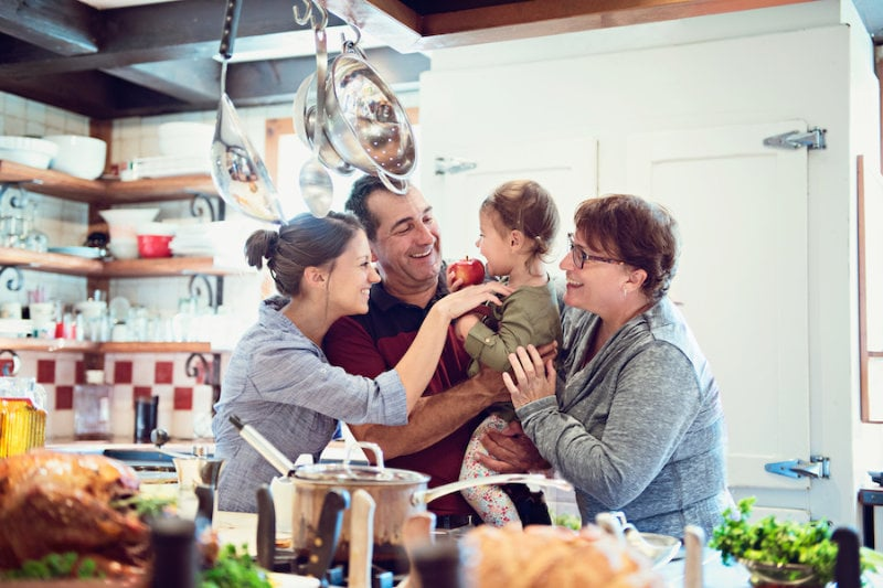 Happy family in a kitchen, Dean's Shop.
