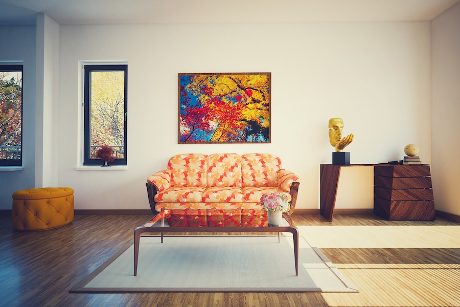 A indoor shot of a pretty home in the fall. 5 furnace maintenance tips.
